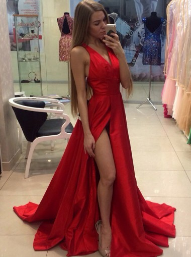 A-Line V-Neck Sweep Train Sleeveless Split-Side Red Satin Prom Dress