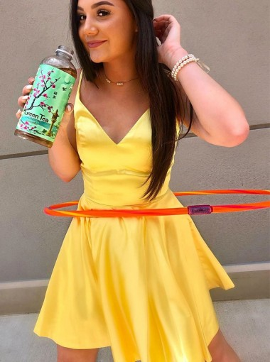 A-Line V-Neck Spaghetti Straps Satin Homecoming Dress