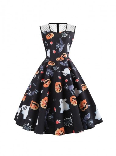 Halloween Party Vintage Dress with Printed Ghost and Pumpkin Face