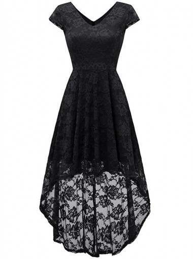 Fashion Gothic V-neck Cap Sleeves High Low Lace Vintage Dress