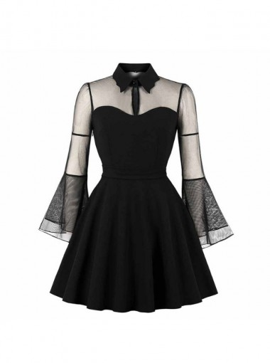 Gothic A-line Flare Mesh See-Through Key-hole Black Vintage Dress