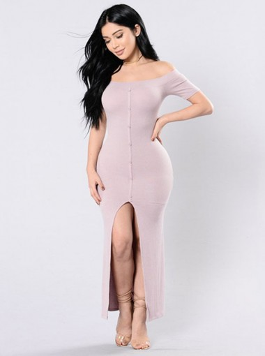 Women's Off-the-Shoulder Pink Long Bodycone Dress with Split