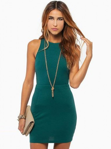 Green Round Neck Open Back Short Women's Bodycone Dress