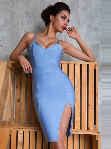 Women's Spaghetti Straps Blue Bodycone Dress with Split