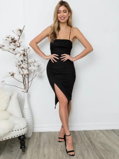 Black Bodycone Spaghetti Straps Black Women's Dress with Split