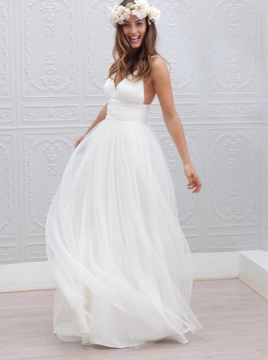 Simple V-neck Floor-Length Open Back White Wedding Dress Ruched Sash