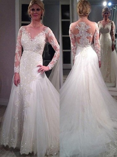 Stunning Jewel Long Sleeves Court Train Wedding Dress with Beading Lace