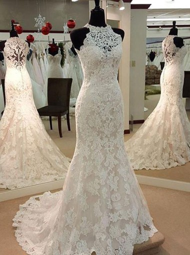 Simple Round Neck Sweep Train Lace Mermaid Wedding Dress
