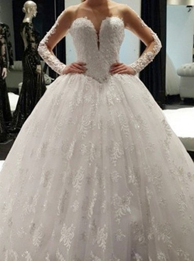 Elegant Bateau Illusion Neck Long Sleeves Ball Gown Lace Wedding Dress