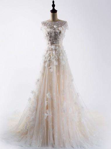 Elegant Bateau Cap Sleeves Sweep Train Lace Wedding Dress with Patchwork Pearls Sash