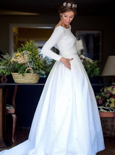 A-Line Round Neck Backless Satin Wedding Dress with Sleeves