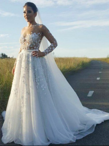 A-Line Round Neck Long Sleeves Wedding Dress with Appliques