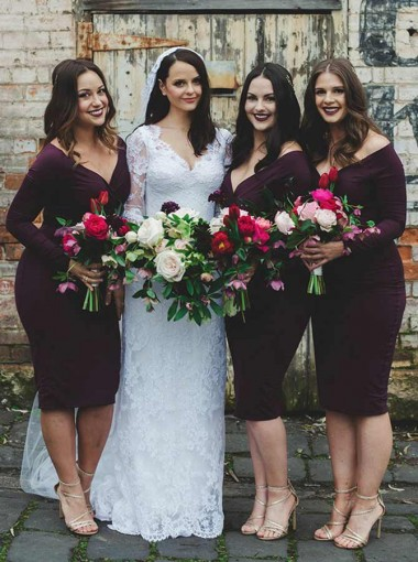 Sheath Off-the-Shoulder Knee Length Burgundy Spandex Bridesmaid Dress