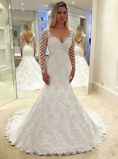 Sheath Scoop Long Sleeves Backless Wedding Dress with Beading Appliques