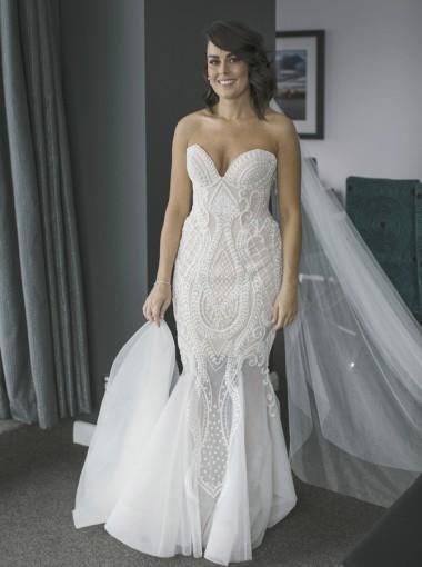 Mermaid Sweetheart Court Train Wedding Dress with Beading Pearls