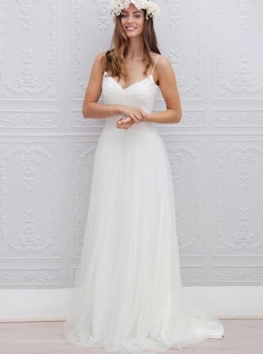 A-Line Spaghetti Straps Sweep Train Beach Wedding Dress Ruched