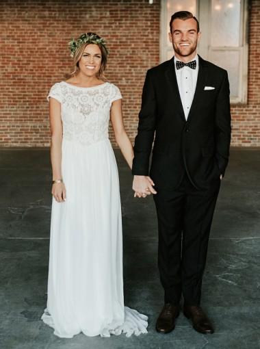 A-Line Bateau Cap Sleeves Sweep Train Boho Wedding Dress with Lace