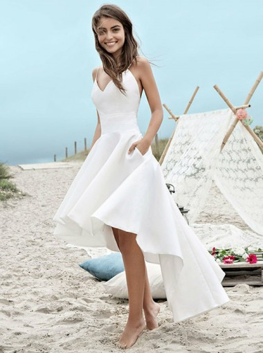High Low Spaghetti Straps Backless Satin Beach Wedding Dress with Pockets
