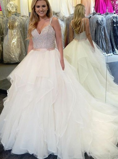 Ball Gown Straps Court Train Tulle Wedding Dress with Beading