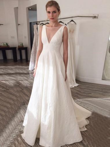 A-Line Illusion Bateau V-Back Court Train Pleated Satin Wedding Dress