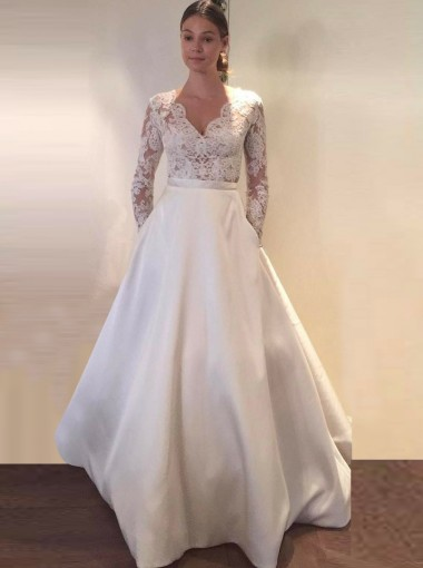 A-Line Scalloped-Edge Long Sleeves Satin Wedding Dress with Pockets Lace