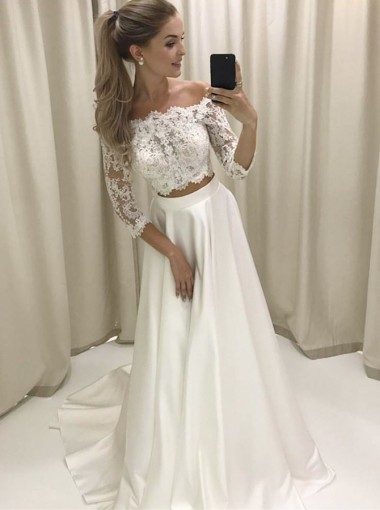 Two Piece Off-the-Shoulder 3/4 Sleeves Satin Wedding Dress with Lace