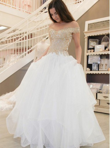 A-Line Off-the-Shoulder Tiered Tulle Floor-Length Wedding Dress with Appliques