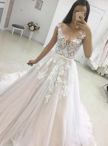 A-Line Illusion Bateau Cap Sleeves Court Train Tulle Appliques Wedding Dress