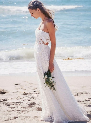 Two Piece Strapless Floor-Length Lace Beach Boho Wedding Dress