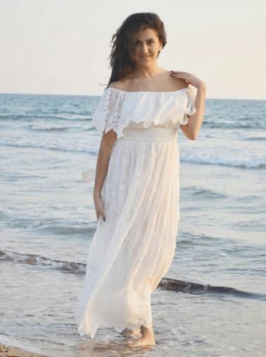 A-Line Off-the-Shoulder Boho Lace Beach Wedding Dress with Ruffles