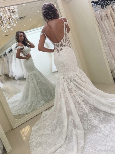 Mermaid Spaghetti Straps Cold Shoulder Court Train Lace Wedding Dress