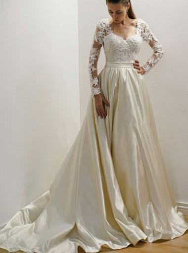 A-Line Square Neck Court Train Satin Wedding Dress with Appliques