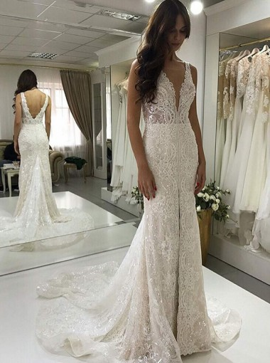 Mermaid V-Neck Court Train Lace Wedding Dress with Sequins Split
