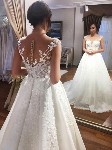 A-Line Square Neck Court Train Satin Wedding Dress with Appliques Beading