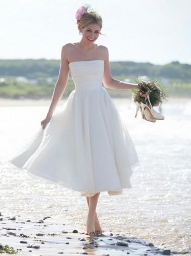 A-Line Strapless Tea Length Chiffon Beach Wedding Dress