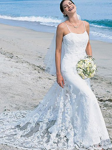 Mermaid Spaghetti Straps Court Train Lace Wedding Dress