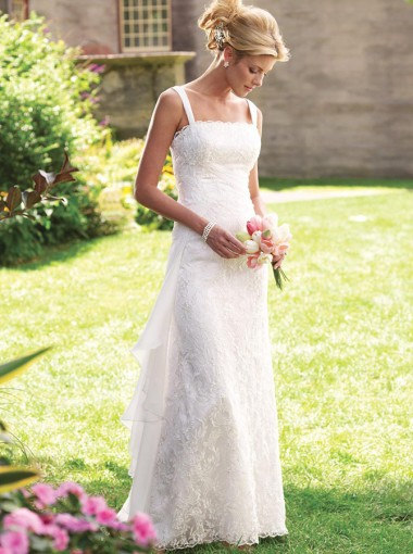 Sheath Straps Sweep Train Lace Beach Wedding Dress