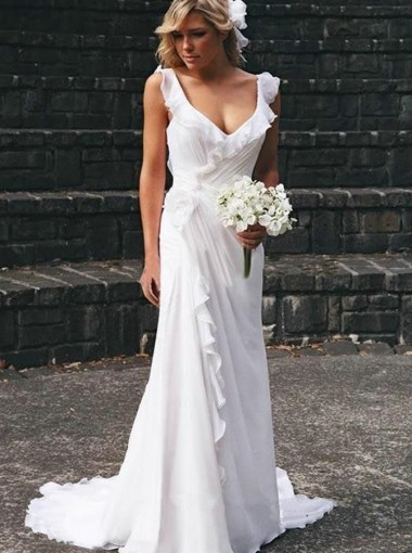 A-Line Scoop Court Train Chiffon Beach Wedding Dress with Ruffles
