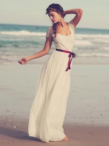 A-Line Scoop Floor-Length Chiffon Wedding Dress with Sash Lace