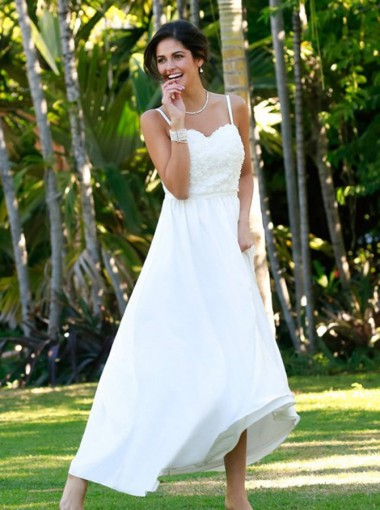 A-Line Spaghetti Straps Sweep Train Chiffon Beach Wedding Dress with Lace