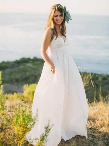 A-Line Spaghetti Straps Sweep Train Chiffon Wedding Dress