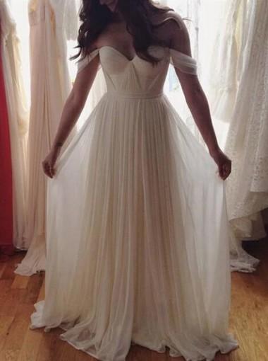 A-Line Off-the-Shoulder Sweep Train Pleated Chiffon Beach Wedding Dress