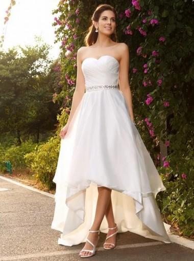A-Line Sweetheart High Low Chiffon Wedding Dress with Beading