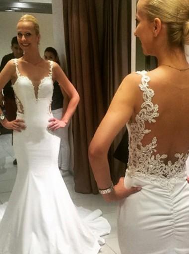 Mermaid Spaghetti Straps Satin Wedding Dress with Appliques