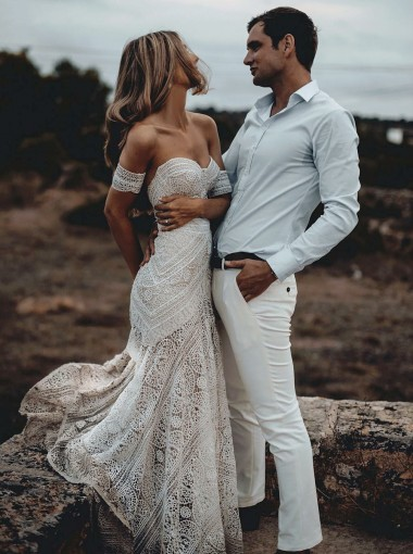 Mermaid Sweetheart Ivory Lace Beach Boho Wedding Dress