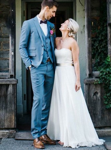 A-Line Strapless Chiffon Beach Wedding Dress with Sash
