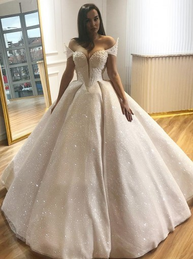Ball Gown Off-the-Shoulder Floor Length Lace Wedding Dress with Beading