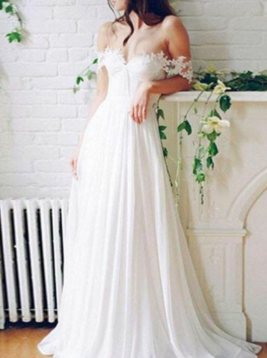 A-Line Off-the-Shoulder Pleated Chiffon Wedding Dress with Lace