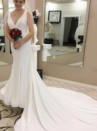 Mermaid V-Neck Court Train Sleeveless Chiffon Wedding Dress