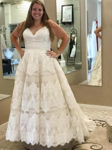 A-Line Spaghetti Straps Plus Size Wedding Dress with Appliques Sash